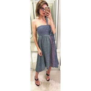 Anthropologie Maeve One Shoulder Plaid Dress